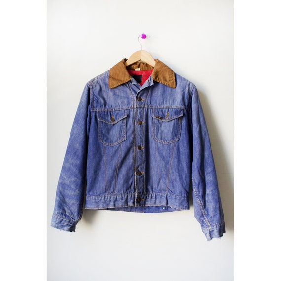 Vintage 60s Sears Quilt Lined Mens Denim Jacket Si