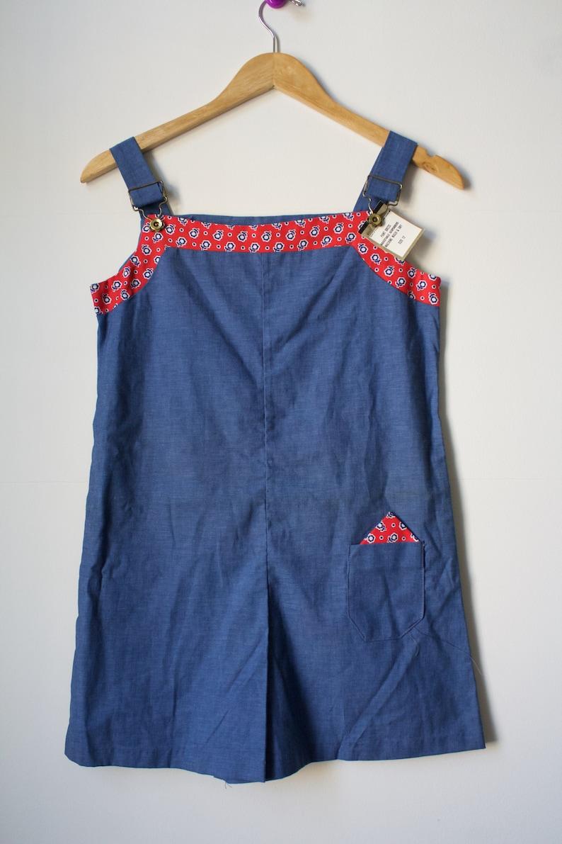 SALE Vintage 70s Deadstock Chambray Denim Red Trim Romper Size XXS