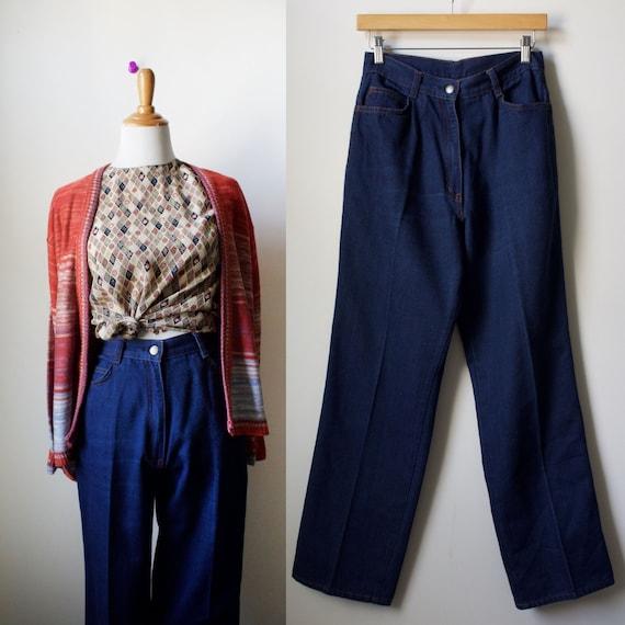 "Vintage 70s High Waisted Straight Led Jeans 26"" Wa"