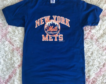 Vintage 80s NY Mets Blue and Orange Graphic Tee Med/Lrg