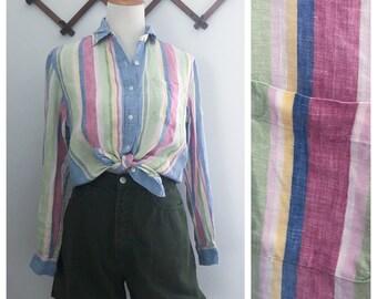Vintage 90s Pastel Stripe Linen Button Down Top XS/S