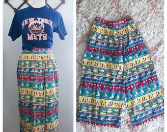 Vintage 80s Wide Leg Summer Print Cropped Wrap Pants Small