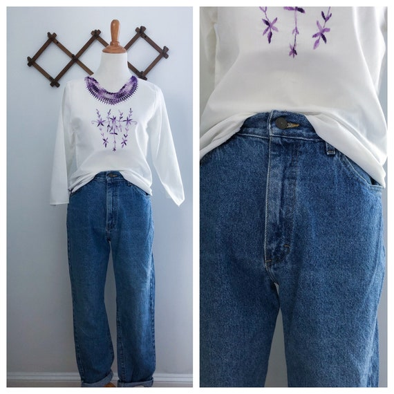 Vintage 90s High Rise Medium Wash Lee Mom Jeans 26