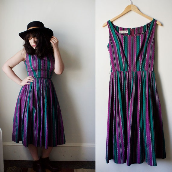 Vintage 60s Purple and Green Day Dress Midi Dress