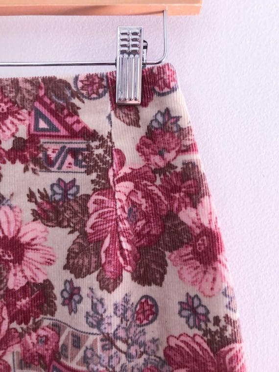 Vintage 90s Laura Ashley Pink Rose Corduroy Mini … - image 6