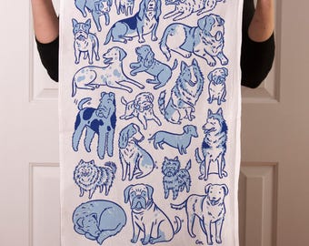 Flour sack tea towel with Total Dogs screen print in blues