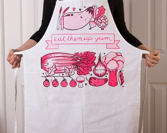 SALE: Cotton Canvas apron with Yummy Vegetable screen print