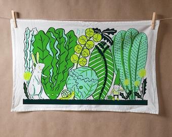 Flour sack tea towel with Greens Garden screen print