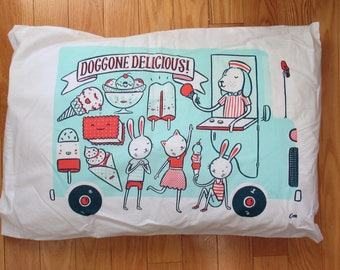 Doggone Delicious Ice Cream Truck pillow case in aqua, red and navy