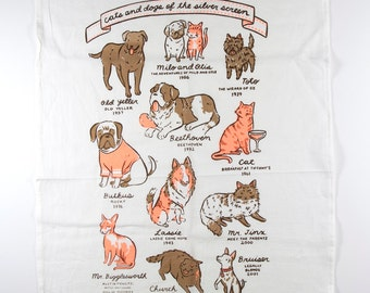 """Flour sack tea towel with """"Cats and Dogs of the SIlver Screen"""" screen print"""