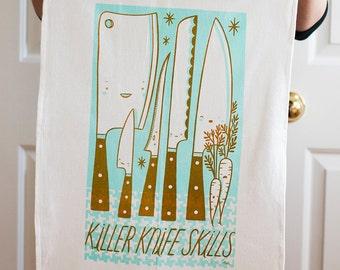 Killer knife skills in aqua screen printed flour sack tea towel