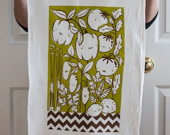 Salsa vegetables in verde screen printed flour sack tea towel