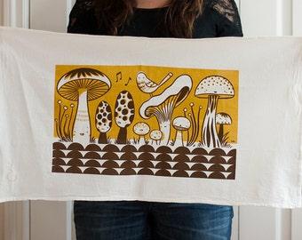Happy mushrooms in mustard screen printed flour sack tea towel