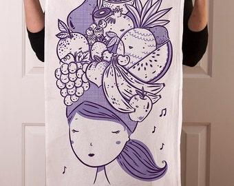 Flour sack tea towel with Fruit Girl screen print
