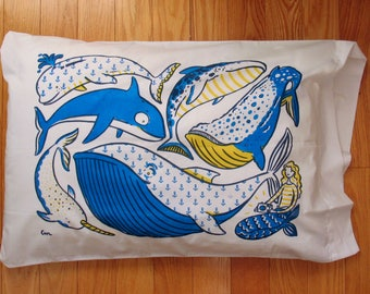 Dream Whales with Curious Mermaid pillow case in yellow, blue and navy