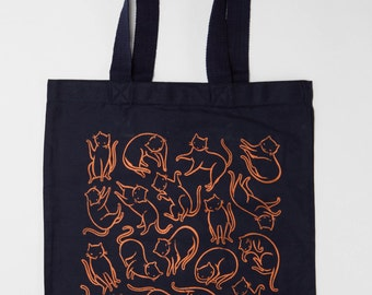 Cotton Canvas tote with Floating Cats screen print