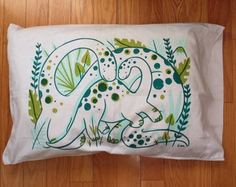 Mama and Baby Dino pillow case in aqua, green and hunter green