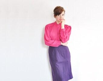 Neon Pink rosa Bluse. gefaltete v-Ausschnitt. halb schier Magenta .medium .sale s eine l-e