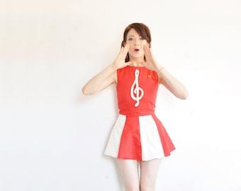 Song-Vogel 1960-Cheerleader-Uniform. Mod rot weiße Majorette Minikleid .extra small.xs .sale