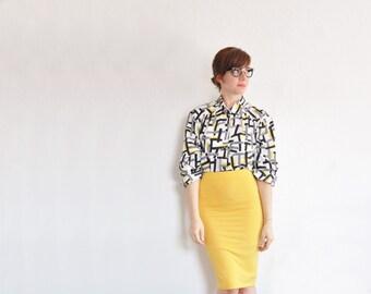 gelb schwarz weiße geometrischen 80er Jahre Bluse. Form-Linienmuster. Retro-Büro Top .medium .sale s eine l-e