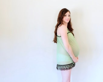 sheer green mod babydoll mini slip . black lace trim sleep dress lingerie .small.medium .sale s a l e