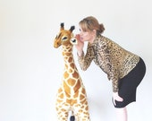 1990s sheer cheetah print blouse . leopard wild cat button down shirt .small.medium .sale s a l e