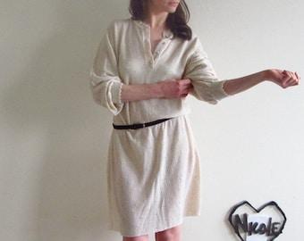 pointelle cream knit dress . delicate eyelet sweater .small.medium.large.extra large .sale