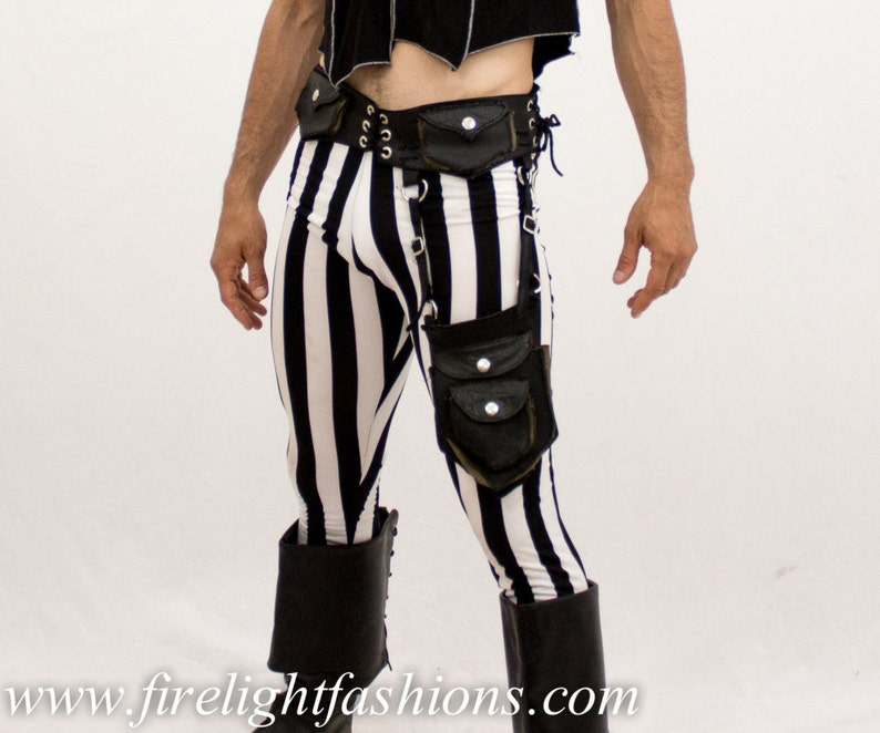 d7b948109017b9 Mens leggings stripe tights black and white pants boho | Etsy