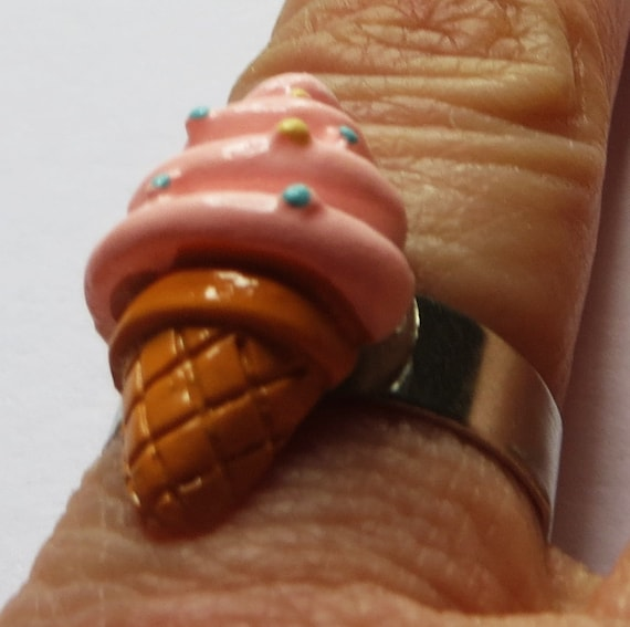 Pink *Whipped Ice Cream cone* adjustable ring