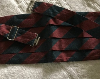 VINTAGE 4-pleated MEN'S 100% Silk CUMMERBUND Waist Belt Thai Silk Company Handwoven in Siam Burgundy/deep green
