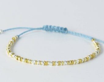 Sterling silver and gold vermeil beads bracelet ,gold and silver bracelet
