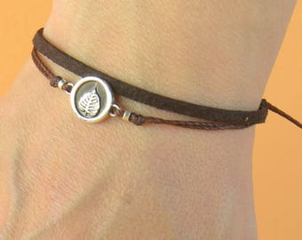 Sterling Silver Bodhi Printed charm bracelet. Mens bracelet.Leaf bracelet