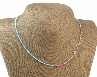 Gemstones and sterling silver beads necklace.Dainty.Ruby sterling silver and turquoise