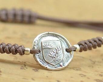 Sterling silver Vintage Wax seal Medieval Middle ages artisan handmade bracelet.Rustic.Heraldry,heraldic Castle crown armor lys flower