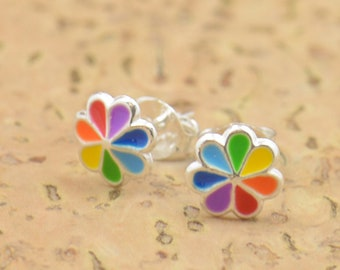 7 chakras stud tiny earrings-sterling silver-handmade-gift-boho-pet-dog-bear.Rainbow earrings