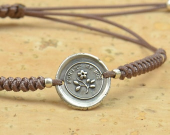 Sterling silver tiny -Forget me not- artisan handmade bead bracelet.Rustic.