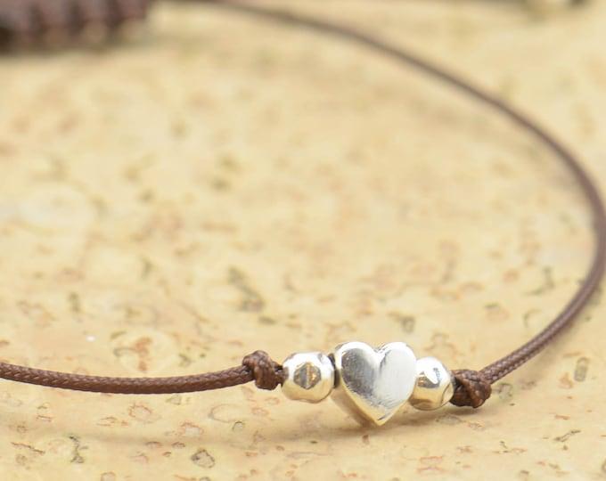Tiny heart sterling silver bracelet.Delicate bracelet.Gift for her.Couple bracelet