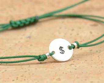 Dollar sign money sterling silver bracelet.Business bracelet