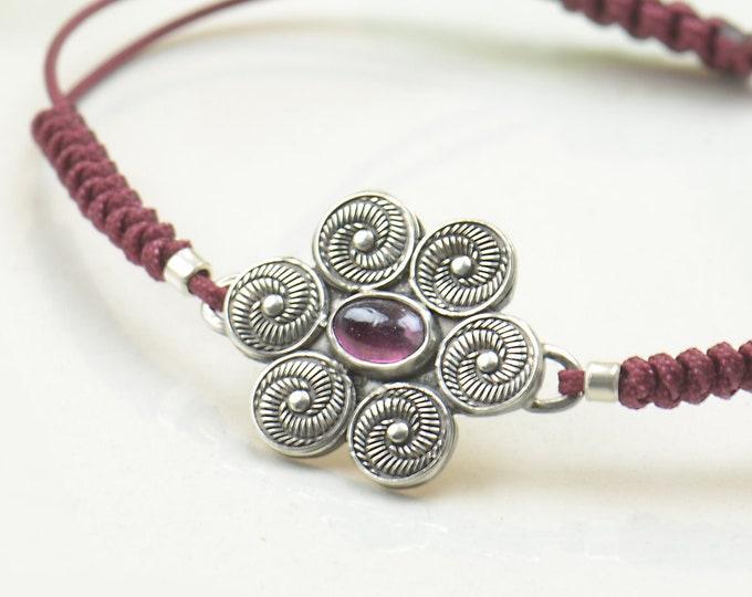 Artisan handmade pink Tourmaline bracelet.Gemstone setting Metalsmithing silversmith.Unique piece.Star Universe spiral .Moon Bracelet