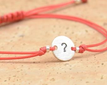 Question sign sterling silver bracelet