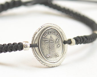Sterling silver Vintage Wax seal Lighthouse with message -My Light- Wax Seal - Fine Silver, Sterling Silver.My guide my support