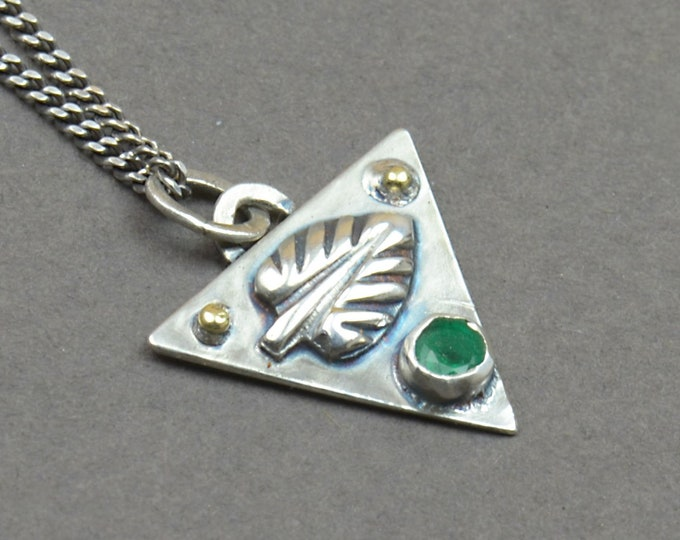 Emerald and sterling silver raw pendant.Genuine emerald Artisan leaf pendant nature.Unique.Metalsmithing.One of a kind rustic.Triangle