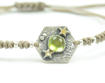Sterling silver and genuine peridot gemstone, moon, stars bracelet.Artisan unique Bead.Handmade rustic bead statement one of a kind