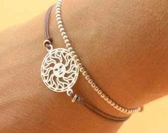 Sterling silver sun mandala bracelet