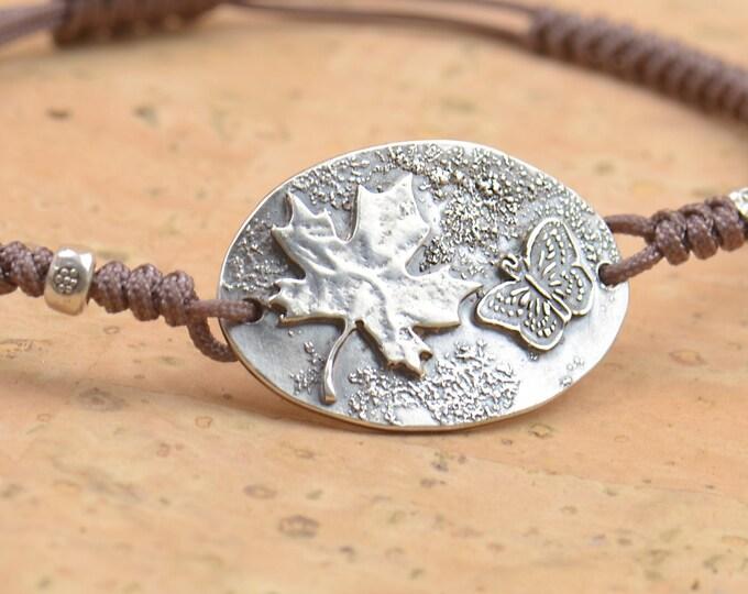 Maple leaf and butterfly Sterling silver bracelet,handmade bracelet.Artisan unique Canada Canadian.Mens bracelet.Nature bracelet