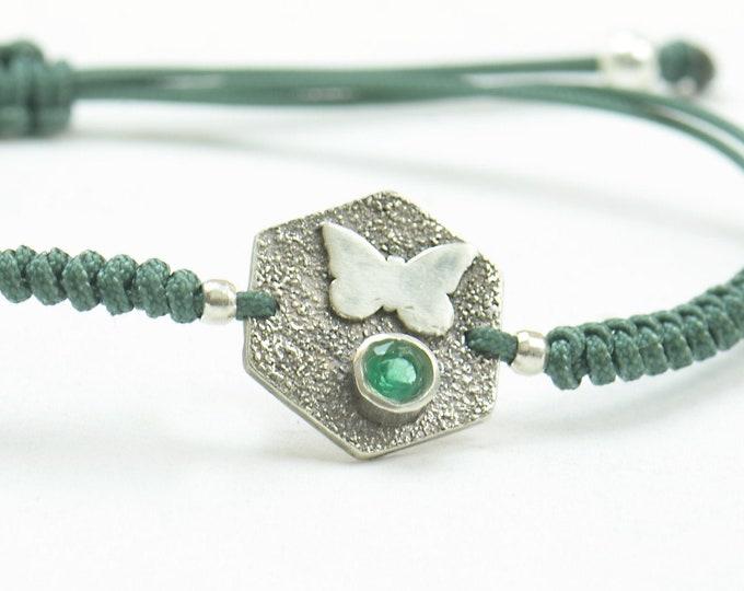 Emerald bracelet sterling silver, butterfly bracelet.Artisan unique Bead.Handmade rustic bead statement one of a kind
