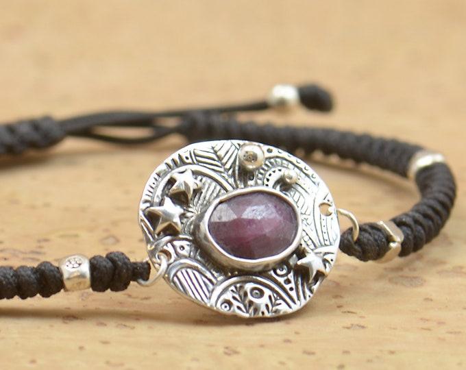 Sterling silver ruby gemstone, moon, stars bracelet.Artisan unique Bead.Handmade rustic bead
