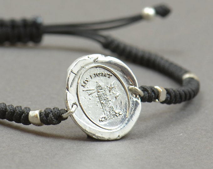 Sterling silver Vintage Wax seal Lighthouse with message -My Light- Wax Seal - Fine Silver, Sterling Silver