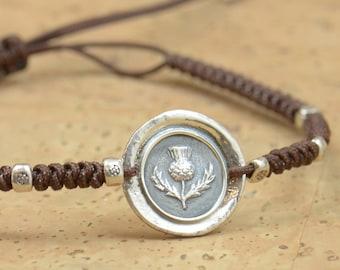 Sterling silver Vintage Wax seal Scottish Thistle Wax Seal - Fine Silver, Sterling Silver