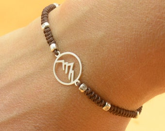 Sterling silver mountain charm bracelet.Mens gift.unisex climbing bracelet.Snake knot braided cord.Waterproof bracelet.27 colors